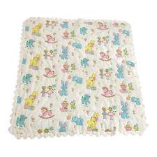 Vtg Pastel Baby Toddler Quilt 45�x47� Blanket Crib Comforter Kitten Elephant