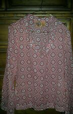 TORY BURCH RED AND WHITE FLOWER V NECK SEQUIN LONG SLEEVE BLOUSE NWOT 6