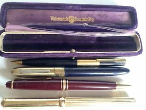 Lot Of Mixed Vintage Pens And Box Ted Lapidus Montblanc Waterman Wearever