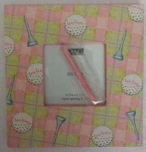 """New Lang Tee Time Golf Plaid Picture Photo Frame Pink Green 6.5"""" x 6.75"""" Square"""