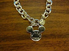 """MICKEY MOUSE  SILVER  CHARM BRACELET 8"""" DOUBLE SIDED Lobster  Clasp Closure"""