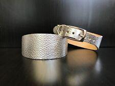Pequeñas y medianas de cuero Galgo Inglés Collar de Perro de Plata Galgo