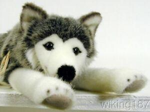 KOSEN Of Germany #3870 NEW Lying Husky Dog Plush Toy with Amber Colored Eyes