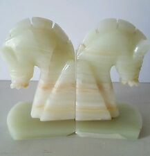 Vintage Horse Bookends Carved Onyx Statue Pair