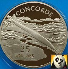 2005 Isole Salomone $25 dollari CONCORDE.999 argento e oro PROOF COIN