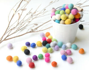1cm Felt Balls.Multi colours.Wool.Mixed colours.Assorted balls DIY Pom Pom Beads