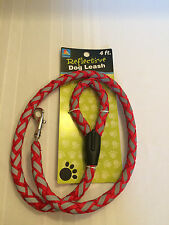 "Reflective Dog Leash -  Red and Gray -  Approximately 45"" Long"