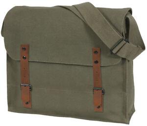 Medic Shoulder Bag Military Vintage Washed Canvas Solid Army NATO Leather