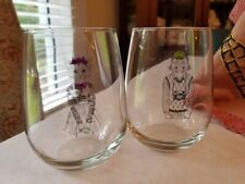 Royal Leerdam Roly Poly Glasses Modern Set of 2 Clear Glass Cat Theme