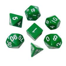 GREEN Polyhedral 7 Dice Set D4 D6 D8 2 X D10 D12 D20 CHIP 204B