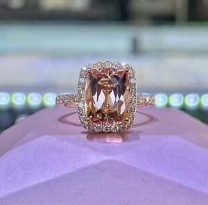 4Ct Cushion Cut Attractive Morganite Halo Engagement Ring 18K Rose Gold Finish