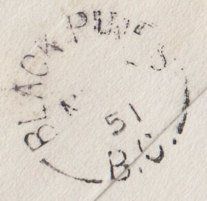 Black Pines, BC 1951 split ring cancel backstamp on cover from Kamloops
