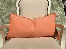 NWT THROW OBLONG PILLOW 20x14 ORANGE KNOT TIED FRINGE FEATHER FILLED