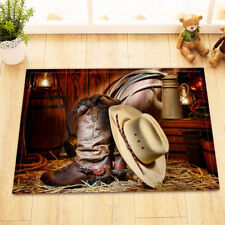 Rustic Cowboy Roots Stable Grass Home Decor Non-Slip Bath Mat Door Rug Carpet