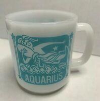 Aquarius Zodiac Coffee Tea Cup Mug Vintage Milk Glass Jan 21-Feb 19 Airy Sign