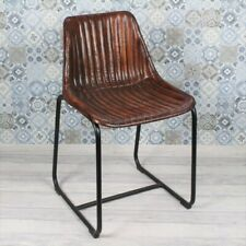 More details for industrial vintage skid dining chair, brown ribbed leather metal restaurant cafe