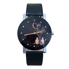 Gold Crystal Gem Black Night Couple In Love Wrist Watch Ladies Women Girl's Gift