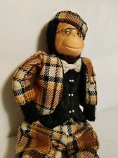 Vintage Handmade MONKEY Dressed in Plaid w/Vest, Bow Tie Glasses 1960s Professor