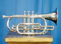 """NEW SILVER Bb FLAT CORNET+FREE""""HARD CASE+MOUTHPIECE**WOW-EXQUISITE"""
