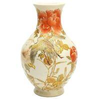 Satsuma Porcelain Ware Vase Crane Motif Meiji Era Old Japanese Antique Japan F/S