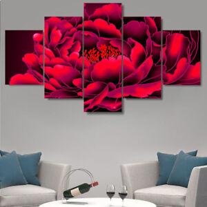 3D Red Flower Framed Painting 5 Panel Canvas Print Wall Art Home Decor Poster