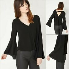 Miss Selfridge Black Top Size 10 - Flute Sleeve Style - BNWT - New £32 RRP