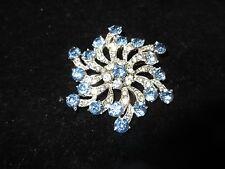 BOGOFF Signed Pin Brooch Rhinestone Crystal Flower Blue Vintage Antique RARE