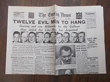 EVENING NEWS WWII NEWSPAPER OCTOBER 1st 1946 GOERING AND RIBBENTROP TO HANG