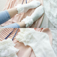 Lace Ruffle Frilly Ankle Short Socks Ladies Princess Girl White Soft Stockings
