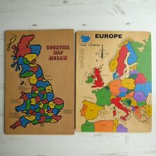 2 x Vintage WOODEN PUZZLES Europe Countries Map Jigsaw Counties Map Educational