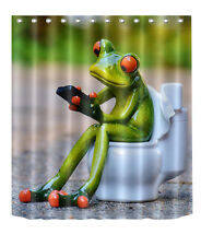 """72x72"""" Frog Toilet Bathroom Waterproof Polyester Fabric Shower Curtain 2210"""