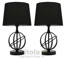 NEW PAIR OF MERCATOR SATURN BEDSIDE TABLE LAMPS BLACK METAL BASE TC SHADE A67111