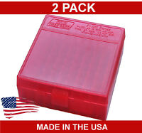 Two MTM Ammo Box Container - 22 Mag & 17HMR - 100 Round - Red - P-100-22M-29