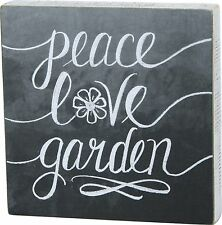"""PEACE LOVE GARDEN Wooden Box Sign 10"""" x 10"""", Primitives by Kathy"""
