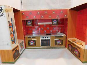 Vintage Fuchs German Tin Cardboard Toy Kitchen Dollhouse Meine Traum Kuche