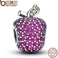 European S925 Sterling Silver Charms Apple With Crystal Fitting Bracelets Chain