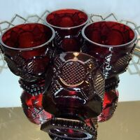 Goblets Tumbler Cape Cod Avon Ruby Red 1876 Collection Vintage Barware 4 #MP5