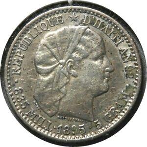 elf Haiti 20 Centimes 1895 Silver   1291