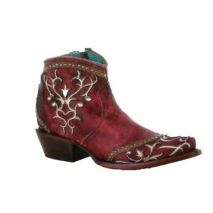 Corral Ladies Red Milagro Embroidery & Studs Booties A3930