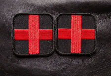 MEDIC CROSS R/B EMT EMS RED CROSS 2.0X2.0 2 PC FIRST AID HOOK PATCH