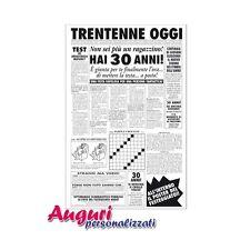 Biglietto auguri giornale compleanno 30 anni amico quotidiano regalo umoristico