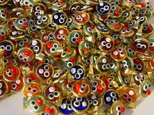WHOLESALE 50 GOLD PLATED CHILDREN TURKISH MURANO GLASS EVIL EYE CHARMS PENDANT