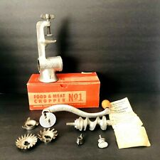 Vintage Manual Metal Meat Grinder Universal Food Chopper No 1 In Original Box