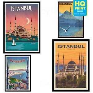 Vintage TURKEY ISTANBUL Travel Retro Poster Print Art Tourism Holiday Decor