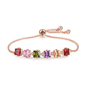 New Handmade Women Girls Jewelry Square Cut Garnet Topaz Charming Bracelet 10''