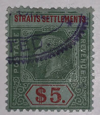 Travelstamps: Straits Settlement Stamps Scott #167 Used NG H(R) $5 Denomination