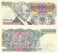 POLAND banknote 2000000 zl zlotych Ignacy Jan PADEREWSKI No ERROR UNC