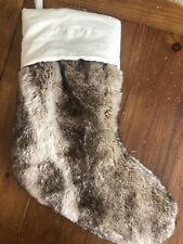 NWOT Pottery Barn Faux Fur Christmas stocking Brown Tan Ombré Mono Removed
