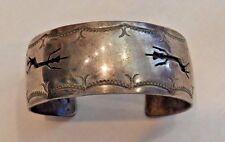 Native American Sterling Silver Etched Figure Cuff Bracelet