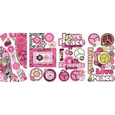 PEACE SIGNS PICTURE Photo FRAMES Wall Decals Flowers Zebra Print Decor Stickers